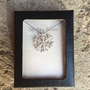 Sterling Silver Snowflake necklace w/ rhinestones